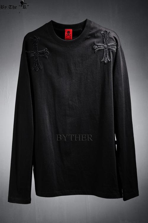 ByTheR 더블 송치 크로스 티셔츠